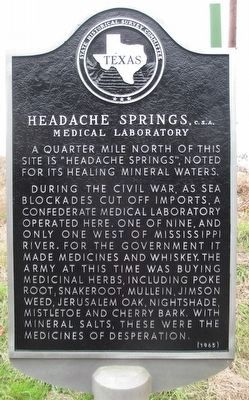Headache Springs, C.S.A. Medical Laboratory Marker image. Click for full size.