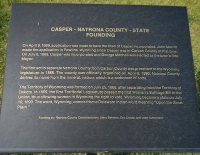 Casper - Natrona County - State Founding Marker image. Click for full size.