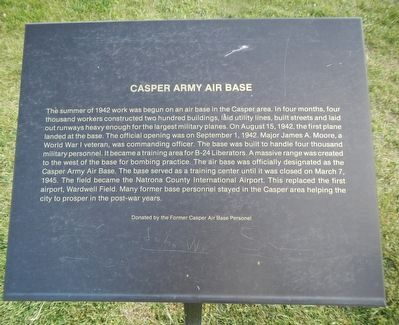 Casper Army Air Base Marker image. Click for full size.