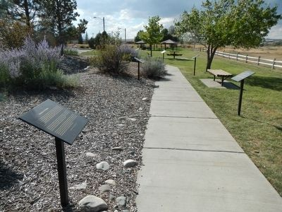 Markers on the Wyoming History Walk in Centennial Park image. Click for full size.
