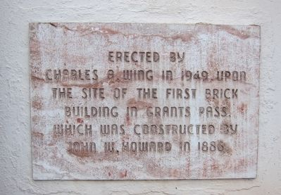The First Brick Building in Grants Pass Marker image. Click for full size.