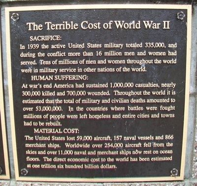The Terrible Cost of World War II Marker image. Click for full size.