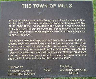 The Town of Mills Marker image. Click for full size.
