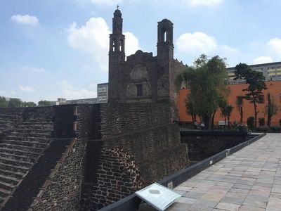 "Tlatelolco's great temple (""Templo Mayor""): A mirrored image of Tenochtitlan Marker image. Click for full size."