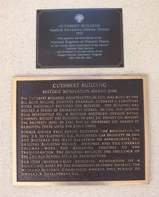 Cuthbert Building Marker (along with NRHP plaque). image. Click for full size.
