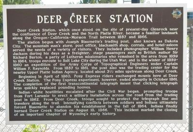 Deer Creek Station Marker image. Click for full size.