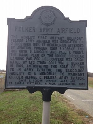 Felker Army Airfield Marker image. Click for full size.