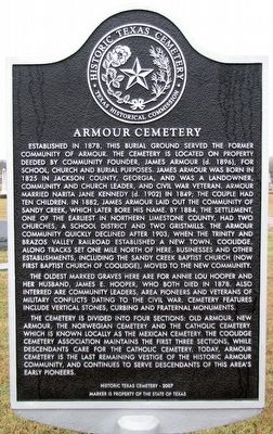 Armour Cemetery Texas Historical Marker image. Click for full size.