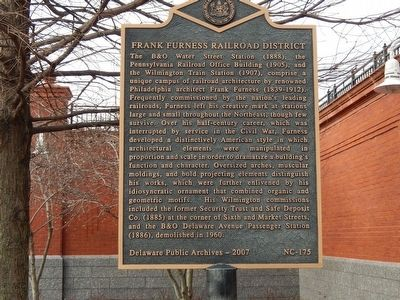 Frank Furness Railroad District Marker image. Click for full size.