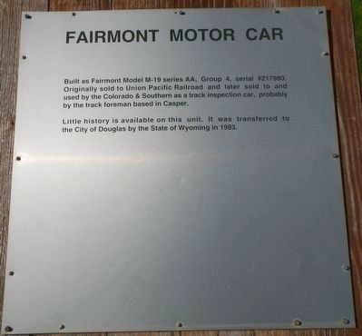 Fairmont Motor Car Marker image. Click for full size.