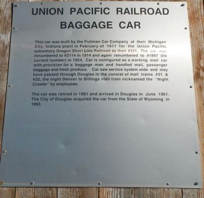 Union Pacific Railroad Baggage Car Marker image. Click for full size.