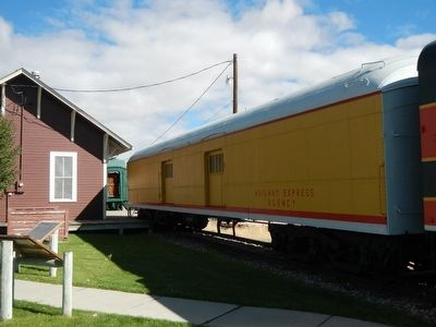 Union Pacific Railroad Baggage Car and Marker image. Click for full size.