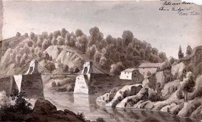 Potomac River, Chain Bridge at Little Falls, 1839 by Augustus Kollner image. Click for full size.