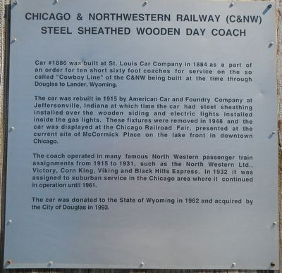 Chicago & Northwestern Railway (C&NW) Steel Sheathed Wooden Day Coach Marker image. Click for full size.