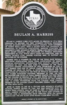 Beulah A. Harriss Texas Historical Marker image. Click for full size.