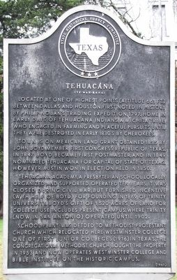 Tehuacana Texas Historical Marker image. Click for full size.