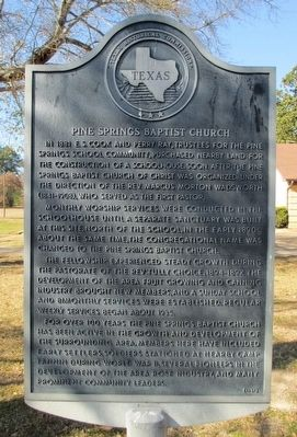 Pine Springs Baptist Church Marker image. Click for full size.