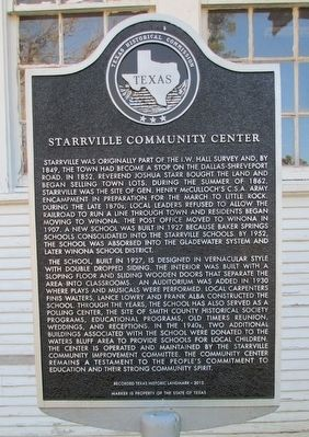 Starrville Community Center Marker image. Click for full size.