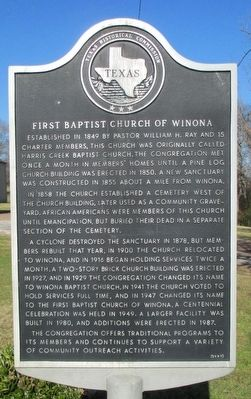 First Baptist Church of Winona Marker image. Click for full size.