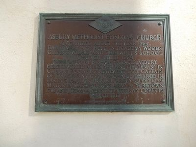 Asbury Methodist Episcopal Church Marker image. Click for full size.