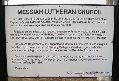 Messiah Lutheran Church Marker image. Click for full size.
