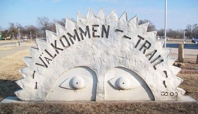 The Välkommen Trail Sign image. Click for full size.