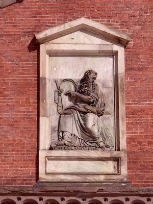 Moses Holding the Tablets of the Law<br> Bas-relief by Antonio Capellano. image. Click for full size.
