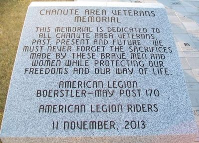 Chanute Area Veterans Memorial Marker image. Click for full size.