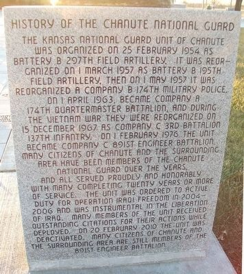 Chanute Area Veterans Memorial National Guard Marker image. Click for full size.