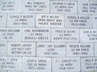 Chanute Area Veterans Memorial Veteran Pavers image. Click for full size.