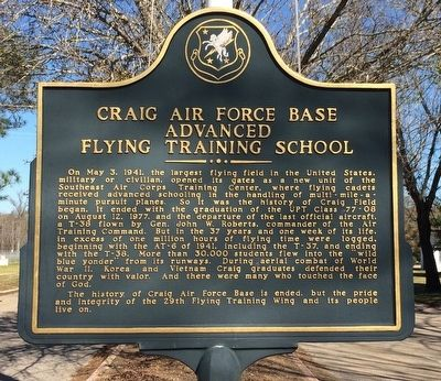 Craig Air Force Base Advanced Flying Training School Marker image. Click for full size.