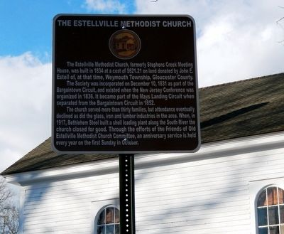 The Estellville Methodist Church Marker image. Click for full size.