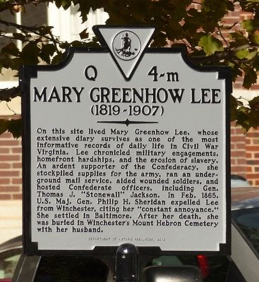 Mary Greenhow Lee Marker image. Click for full size.