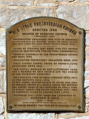 Old Stone Presbyterian Church Marker image. Click for full size.