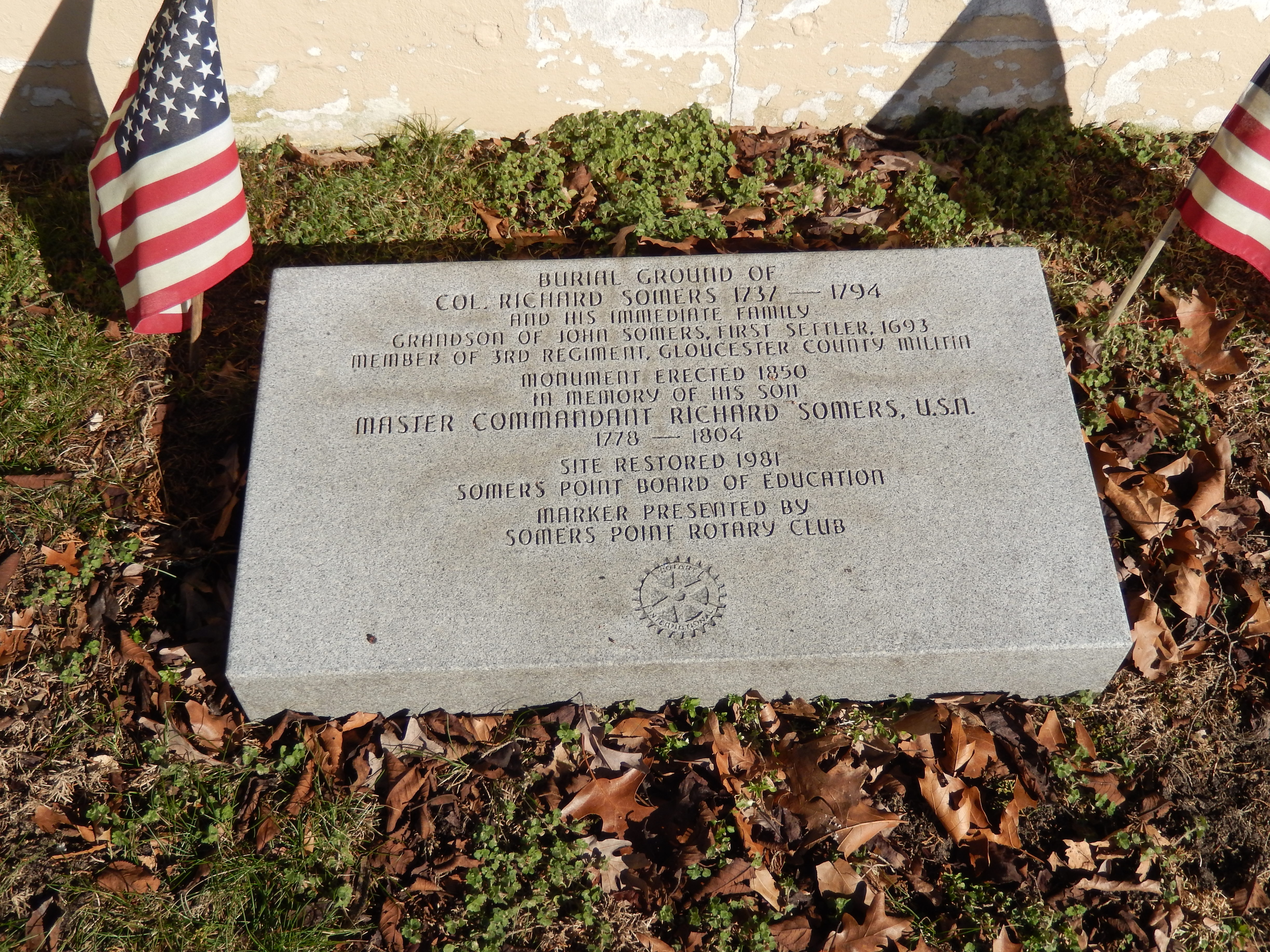 Burial ground of Col. Richard Somers Marker