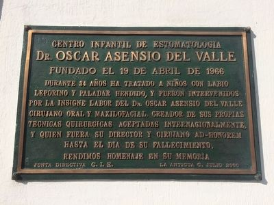 Dr. Oscar Asensio del Valle Marker image. Click for full size.
