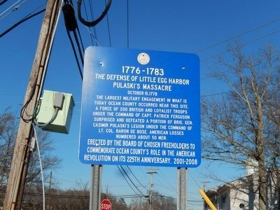 The Defense of Little Egg Harbor Marker image. Click for full size.