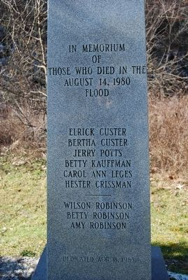 In Memorium of Those Whose Died in the August 14, 1980 Flood Marker image. Click for full size.