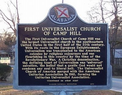 First Universalist Church of Camp Hill Marker (front) image. Click for full size.