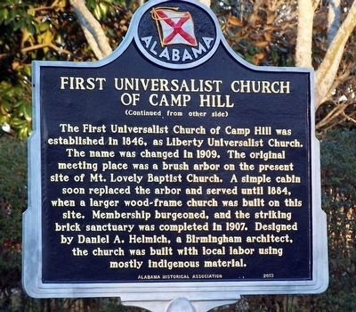 First Universalist Church of Camp Hill Marker (back) image. Click for full size.