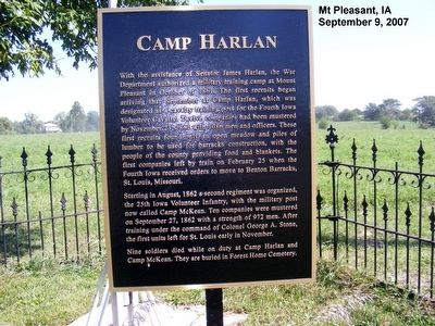 Camp Harlan Marker image. Click for full size.