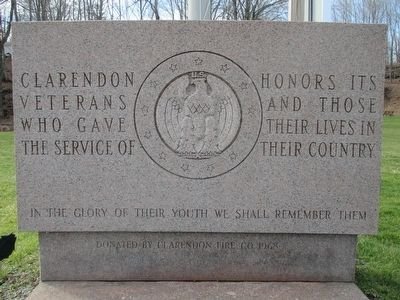 Clarendon Veterans Memorial image. Click for full size.