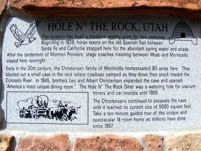 "Hole N"" The Rock, Utah Marker image. Click for full size."