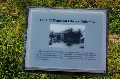 The Hill Memorial Library Columns Marker image. Click for full size.
