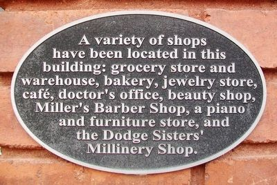Dodge Sisters' Millinery Shop Marker image. Click for full size.