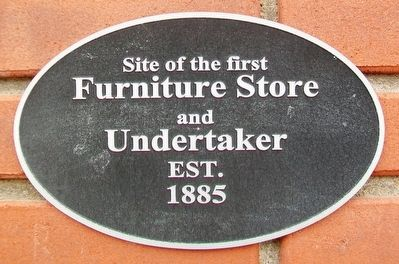 Site of the first Furniture Store and Undertaker Marker image. Click for full size.