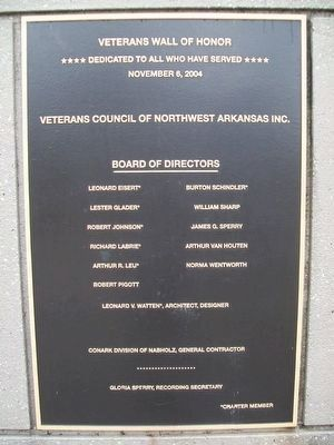 Veterans Wall of Honor Dedication Marker image. Click for full size.