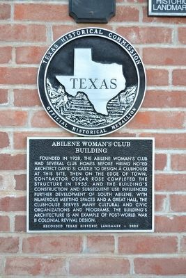 Abilene Woman's Club Building Marker image. Click for full size.