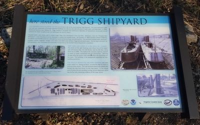 Here Stood the Trigg Shipyard Marker image. Click for full size.