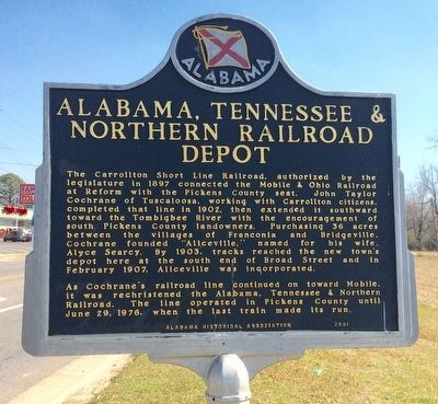 Alabama, Tennessee & Northern Railroad Depot Marker image. Click for full size.